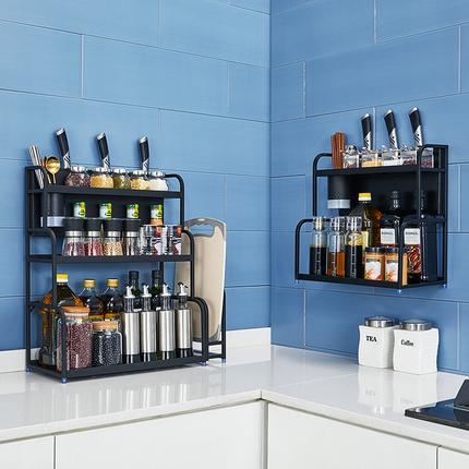 不锈钢黑色调味调料架子厨房置物架用品油盐酱醋收纳台面家用盒瓶