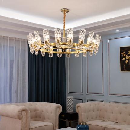 全铜水晶灯轻奢吊灯客厅灯餐厅港式别墅欧式美式后现代大气灯具