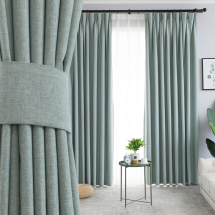 金蝉99%窗帘遮光北欧简约隔热防晒仿亚麻定制卧室客厅窗帘成品布料遮阳布 冷色系-五色可选 1米用料价格(挂钩/打孔免费加工)需要几米拍几米