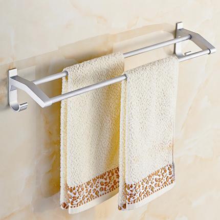 免打孔毛巾架卫生间浴巾架太空铝浴室壁挂架单杆毛巾杆厕所置物架